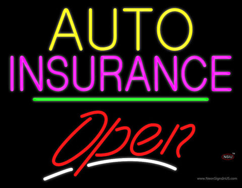Auto Insurance Open Yellow Line Neon Sign