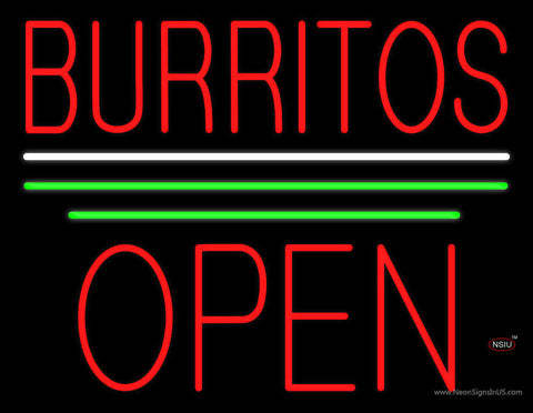 Burritos Block Open Green Line Neon Sign