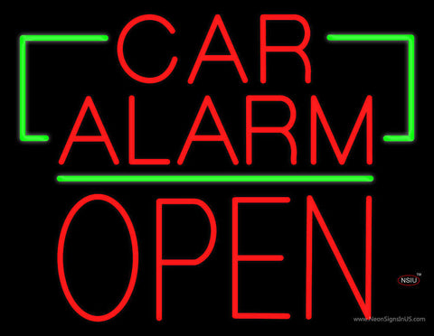 Car Alarm Block Open Green Line Neon Sign