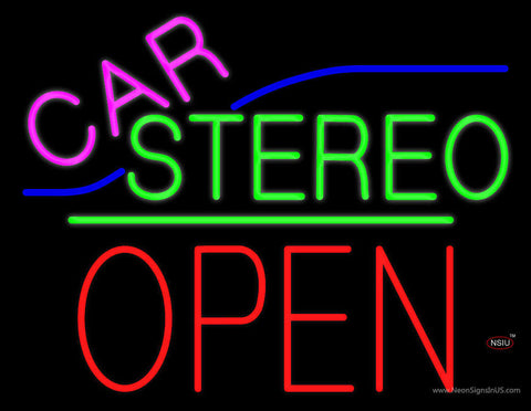 Car Stereo Block Open Green Line Neon Sign