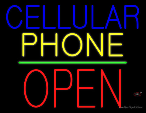 Cellular Phone Block Open Green Line Neon Sign