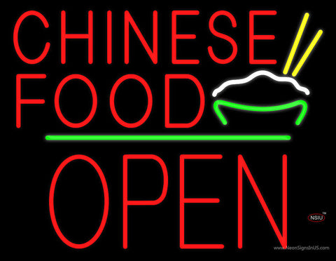 Chinese Food Logo Block Open Green Line Neon Sign