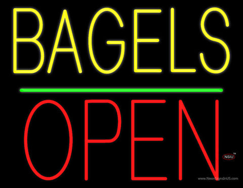 Bagels Block Open Green Line Neon Sign