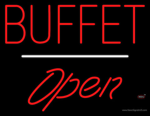 Block Buffet Open White Line Neon Sign