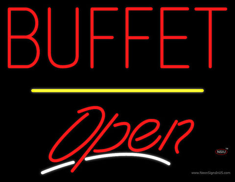 Block Buffet Open Yellow Line Neon Sign