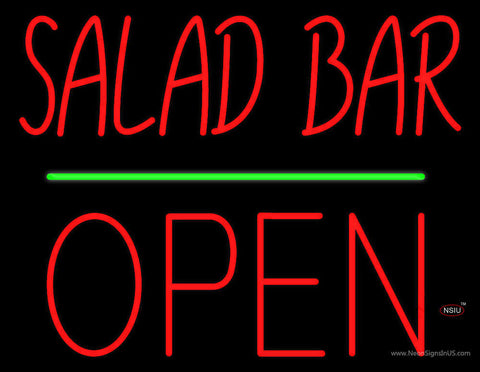 Red Salad Bar Block Open Green Line Neon Sign