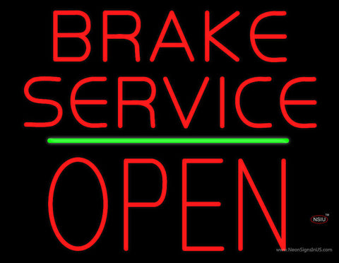 Brake Service Block Open Green Line Neon Sign