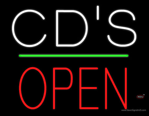 CDs Open Block Green Line Neon Sign
