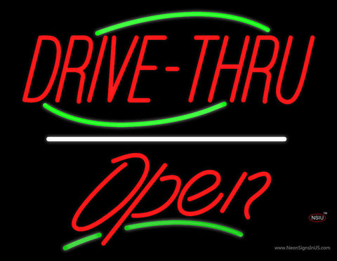 Drive-Thru Open Yellow Line Neon Sign
