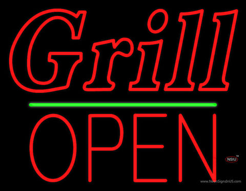 Grill Block Open Green Line Neon Sign