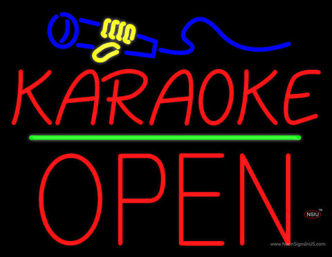 Karaoke Logo Block Open Green Line Neon Sign