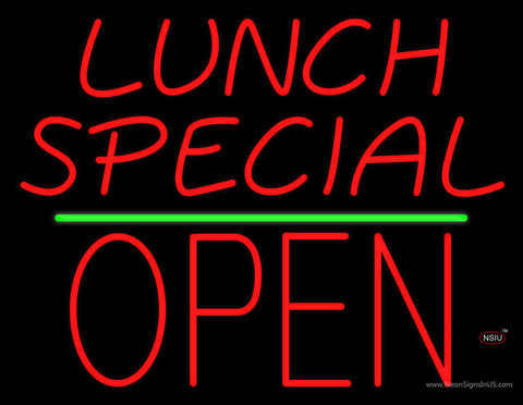 Lunch Special Block Open Green Line Neon Sign