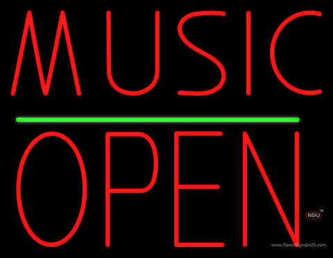 Music Open Block Green Line Neon Sign