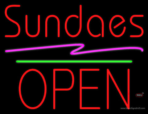 Red Sundaes Block Open Green Line Neon Sign