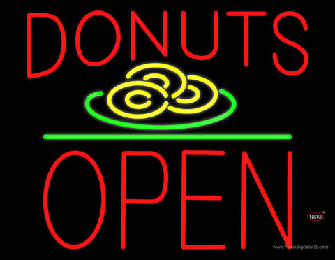 Donut Red and Logo Block Open Green Line Neon Sign