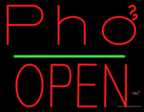 Red Pho Block Open Green Line Neon Sign