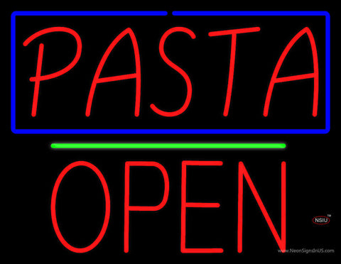 Red Pasta with Blue Border Block Open Neon Sign