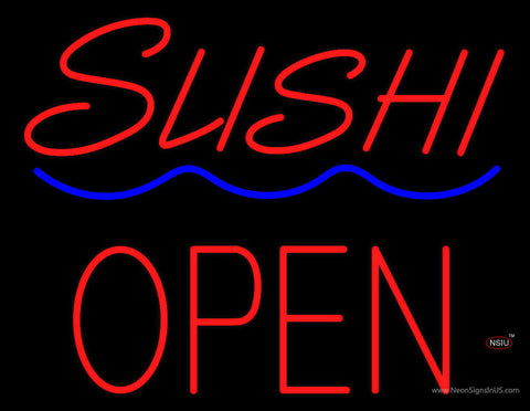 Red Sushi Block Open Blue Curve Neon Sign