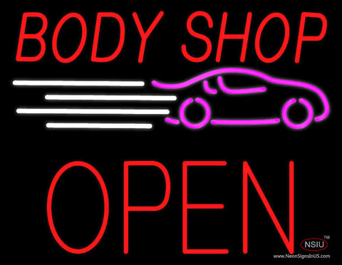 Red Body Shop Open Block Neon Sign