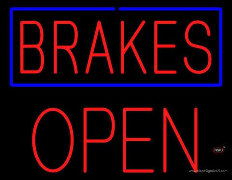 Brakes Blue Border Open Block Neon Sign