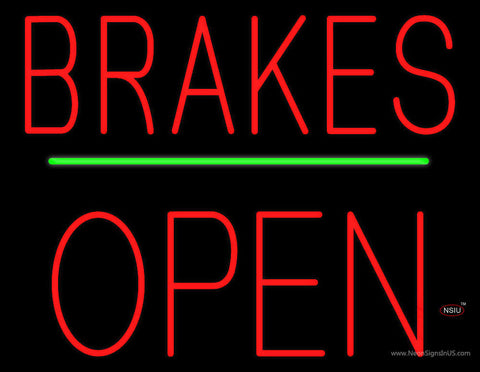 Brakes Open Block Green Line Neon Sign