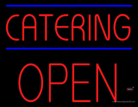 Red Catering Block Open Neon Sign