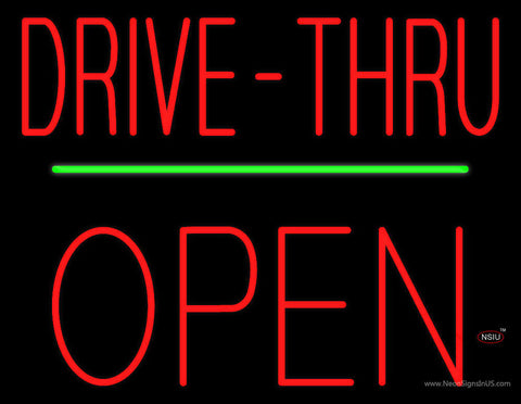 Red Drive-Thru Block Open Green Line Neon Sign