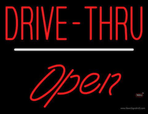 Red Drive-Thru Open White Line Neon Sign