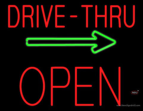 Drive-Thru Block Open with Green Arrow Neon Sign