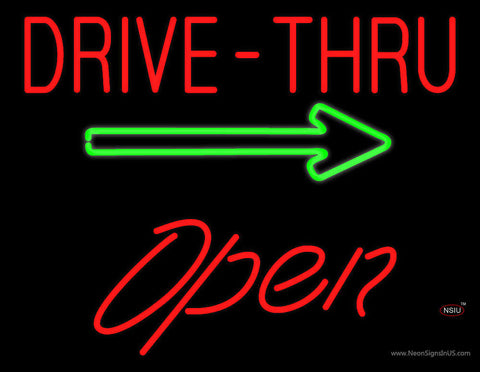Drive-Thru Open with Arrow Neon Sign
