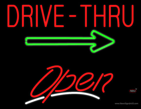 Drive-Thru Open White Line Neon Sign