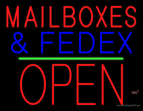 Mail Boxes and FedEx Open Block Green Line Neon Sign