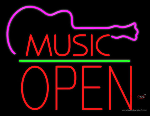 Music Green Line Open Block Neon Sign