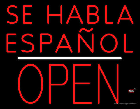 Se Habla Espanol Block Open White Line Neon Sign