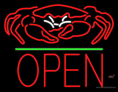 Crab Seafood Logo Block Open Green Line Neon Sign