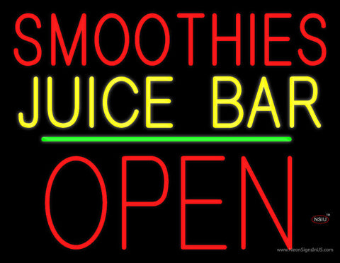 Smoothies Juice Bar Block Open Green Line Neon Sign