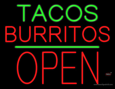 Tacos Burritos Block Open Green Line Neon Sign