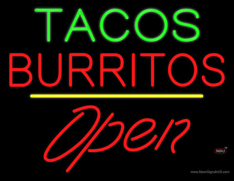Tacos Burritos Open Yellow Line Neon Sign