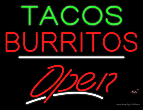 Tacos Burritos Open White Line Neon Sign