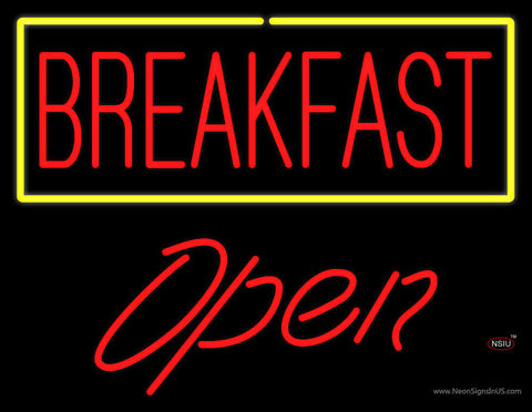 Block Breakfast with Blue Border Open Neon Sign