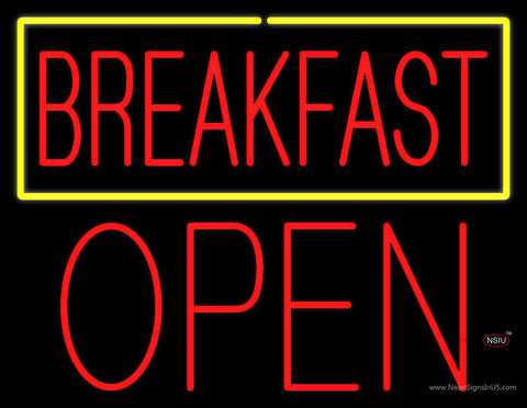 Block Red Breakfast Open Neon Sign