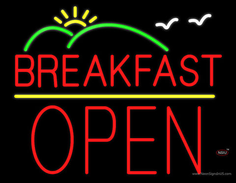Breakfast Block Open Neon Sign
