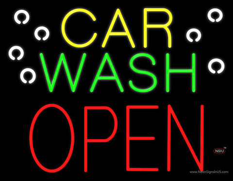 Car Wash Open Block Neon Sign