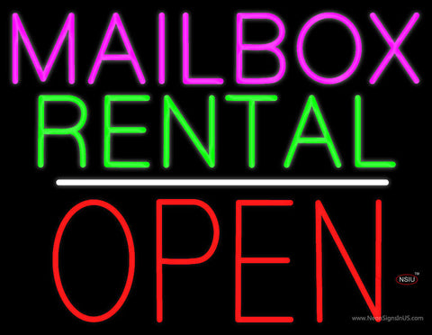 Mailbox Rental Open Block White Line Neon Sign