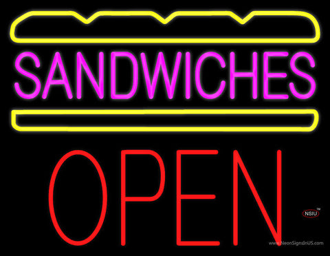 Pink Sandwiches Block Open Neon Sign