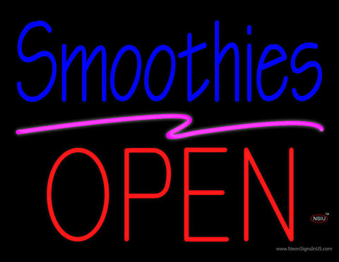 Blue Smoothies Block Red Open Neon Sign