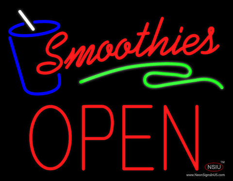 Red Smoothies Block Open Neon Sign