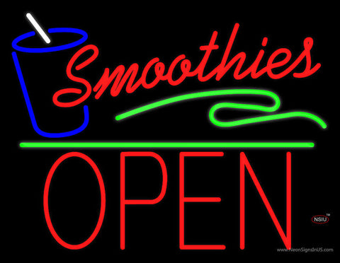 Red Smoothies Block Open Green Line Neon Sign