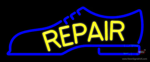 Yellow Repair Shoe Logo Neon Sign