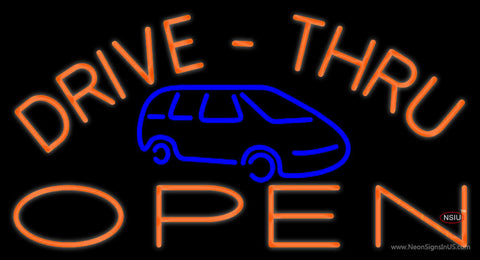 Drive Thru Open With Car Neon Sign